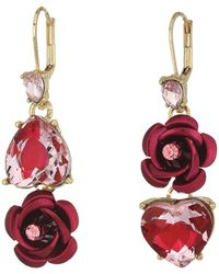 Betsey Johnson - Pink And Gold Non-matching Heart Earrings - Lyst