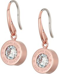 Michael Kors - Cubic Zirconium Logo Drop Earrings - Lyst