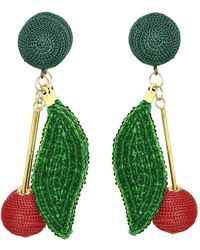 Kenneth Jay Lane - 3 Gold Stick With Matte Red Ball End, Green Seed Bead Leaf And Matte Green Dome Top Pierced Earrings - Lyst