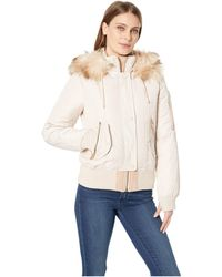 Vince Camuto - Short Bomber Down Jacket With Faux Fur Hood R1881 (blush) Women's Coat - Lyst