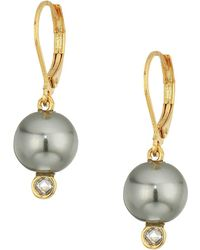 Cole Haan - Pearl Drop Earrings With Cubic Zirconia Accents Lever Back Closure - Lyst