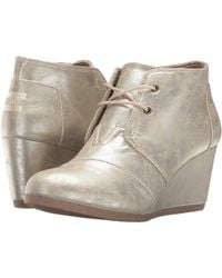 TOMS - Desert Wedge (white Gold Metallic Synthetic Leather) Women's Wedge Shoes - Lyst