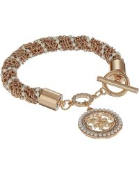 Guess - Toggle Line Bracelet W/ Stones (rose Gold) Bracelet - Lyst