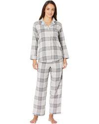 Lauren by Ralph Lauren - Petite Brushed Twill Long Sleeve Classic Notch Collar Pajama Set (red Plaid) Women's Pajama Sets - Lyst