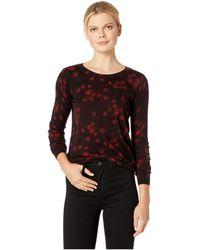 MICHAEL Michael Kors - Eden Rose Crew Long Sleeve Sweater (black/red Currant) Women's Sweater - Lyst