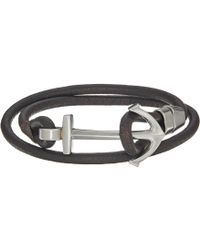 Fossil - Casual Anchor Leather Wrap Bracelet - Lyst
