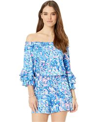 Lilly Pulitzer - Calla Off-the-shoulder Romper (royal Purple Party Wave) Women's Jumpsuit & Rompers One Piece - Lyst