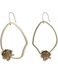 French Connection - Asymmetrical Floral Hoop Earrings (gold) Earring - Lyst