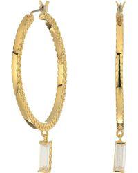Cole Haan - Metal Hoop With Cubic Zirconia Baguette Drop Earrings (gold/clear Cubic Zirconia) Earring - Lyst