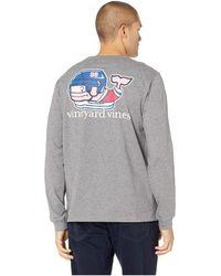 Vineyard Vines - Long Sleeve Pro Hockey Whale Pocket Tee (medium Heather Gray) Men's Clothing - Lyst
