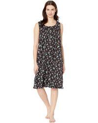 5d6216dfe84d Eileen West - Modal Spandex Waltz Sleeveless Nightgown (black Ground Rosebud  Toss) Women s Pajama