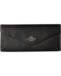 COACH - Soft Wallet In Crossgrain Leather (li/black) Wallet Handbags - Lyst