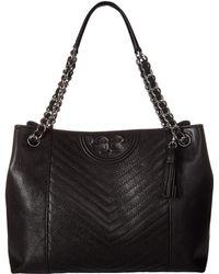 Tory Burch - Fleming Distressed Tote (black) Handbags - Lyst