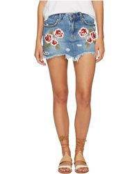 Free People - Wild Rose Embroidered Mini Skirt - Lyst