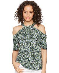 MICHAEL Michael Kors - Wildflower Flounce Halter Top (true Navy/bright Blush) Women's Clothing - Lyst