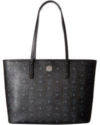 MCM - Anya Shopper Top Zip Medium Shopper (cognac) Tote Handbags - Lyst