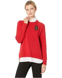 Lauren by Ralph Lauren - Bullion-patch Layered Shirt (lacquer Red) Women's Clothing - Lyst