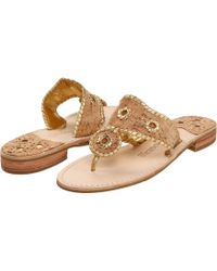 Napa Valley Metallic Leather Whipstitched Slip-On Sandals lLjW4nXxt