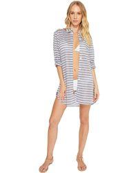 Tommy Bahama - Breton Stripe Boyfriend Shirt Cover-up (mare Navy Heather/white) Women's Swimwear - Lyst