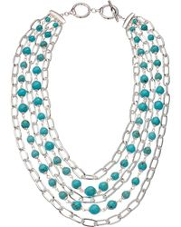 Lauren by Ralph Lauren - Turquoise Multi Row Necklace 18 (silver/turquoise) Necklace - Lyst