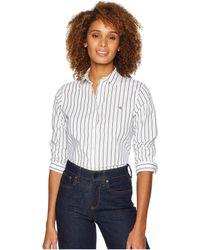 Lauren by Ralph Lauren - No-iron Button Down Shirt (crimson/navy) Women's Clothing - Lyst