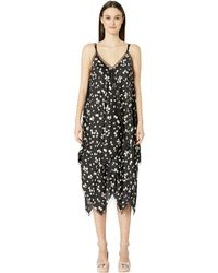 Jason Wu Spring Daisy Print Handkerchief Dress - Black