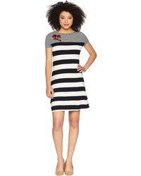 Calvin Klein - Stripe Dress W/ Embroidery (black/white Stripe) Women's Dress - Lyst