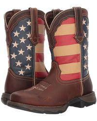 Durango - Lady Rebel Flag Steel Toe (brown) Cowboy Boots - Lyst