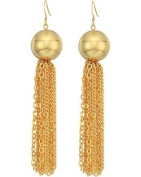 Kenneth Jay Lane | Polished Gold Ball With Tassel Fishhook Earrings | Lyst