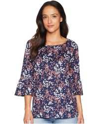 MICHAEL Michael Kors - Scatter Blooms Cotton Peasant Top (true Navy/bright Blush) Women's Clothing - Lyst