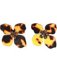 Shashi - Flower Tortoise Stud Earrings (brown) Earring - Lyst