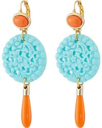 Kenneth Jay Lane - 7849ectcp Small Gold And Top With Carved And Drop Wire Earrings - Lyst