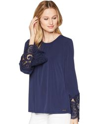 MICHAEL Michael Kors - Lace Cuff Sheer Top - Lyst