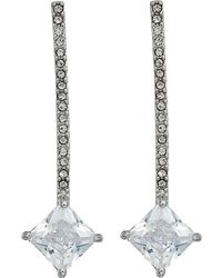 Lauren by Ralph Lauren - Linear Pave Bar With Square Stone Earrings - Lyst