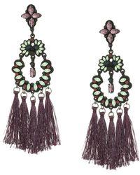 Steve Madden - Casted Stone Tassel Post Earrings (silver) Earring - Lyst