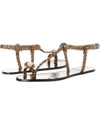 Sonia Rykiel - Laminated Sheepskin Flat Pearl Toe Sandal - Lyst