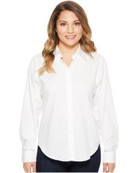 d098f1900a1756 Lauren by Ralph Lauren Tie-front Cotton Shirt in White - Lyst