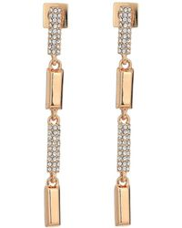 Vince Camuto - Rose Gold Pave Linear Earrings - Lyst