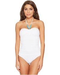 Lauren by Ralph Lauren - Beach Club Bead Necklace One-piece Bandeau Slimming Fit W/ Molded Cup - Lyst