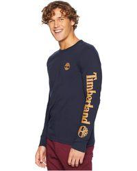 Timberland - Long Sleeve Logo Tee (navy/wheat) Men's Long Sleeve Pullover - Lyst