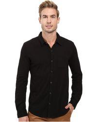 Mod-o-doc - Summerland Knit Long Sleeve Jersey Button Front Shirt (black) Men's Long Sleeve Button Up - Lyst