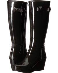 HUNTER - Refined Tall Wedge Gloss (black) Women's Rain Boots - Lyst
