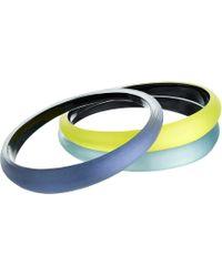 Alexis Bittar - Tapered Bangle 3 Stack Set (black/grey/deep Lilac) Bracelet - Lyst