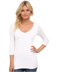 Michael Stars - Shine 3/4 Sleeve Double Front V-neck - Lyst