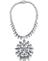 Tory Burch - Crystal Sunburst Pendant Necklace (crystal/worn Silver) Necklace - Lyst