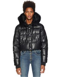 The Kooples - Fake Leather And Fake Fur Down Jacket (black) Women's Coat - Lyst