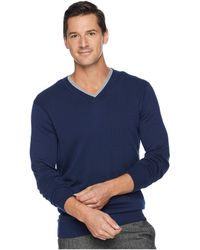 Perry Ellis - Classic Solid V-neck Sweater (bay Blue) Men's Sweater - Lyst