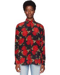 The Kooples - Sleeping Rose Print Shirt In China Crepe (black) Women's Clothing - Lyst