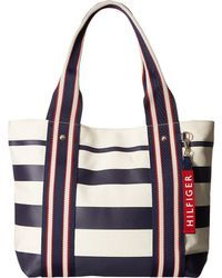 d6a8ddd43d5 Tommy Hilfiger - Classic Tommy Shopper Painted Stripe Tote (tommy Navy) Tote  Handbags -