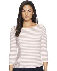 Three Dots - Cape Cod Stripe 3/4 Sleeve Top W/ Zipper Detail - Lyst